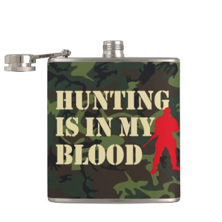 Red silhouette of hunter: Hunting is in my blood, Flasks