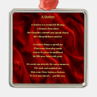 Red Silk - godson poem Metal Ornament