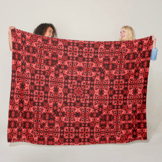 Red Silk Skulls Foulard Pattern Fleece Blanket
