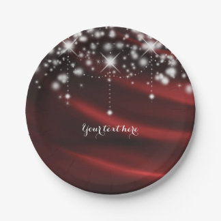 Red Silk & Sparkle Glam Hollywood Party 7 Inch Paper Plate
