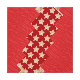 Red Silken Fabric GoldSTAR Strips: NOVINO Graphics Canvas Print