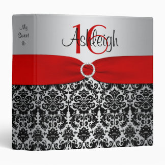 Red, Silver, and Black Damask Sweet 16 Binder