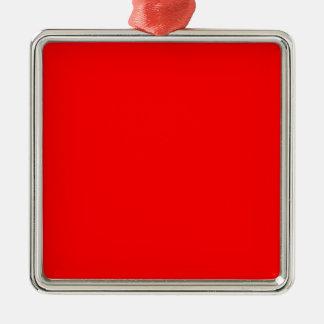 Red Silver-Colored Square Ornament