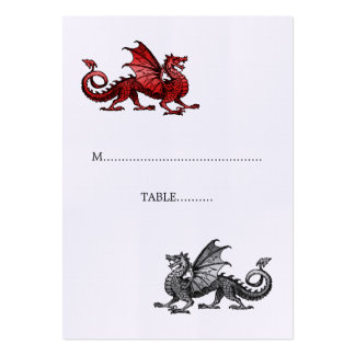 Red Silver Dragon Wedding Place Card Business Card