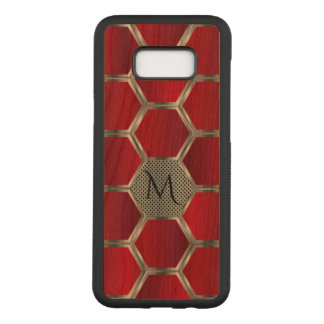 Red & Silver Geometric Pattern Monogram Carved Samsung Galaxy S8+ Case