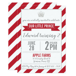 Red Silver Glitter Prince Birthday Invitation
