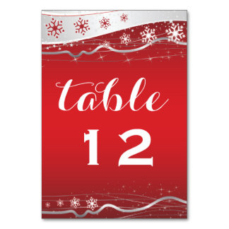 Red, silver grey snowflake wedding table number