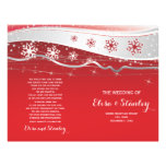 Red, silver grey snowflakes folded wedding program custom flyer