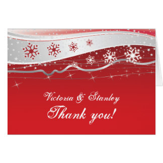 Red, silver grey winter wedding Thank You Card