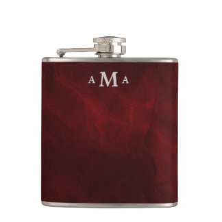 Red Silver Monogram Hip Flask