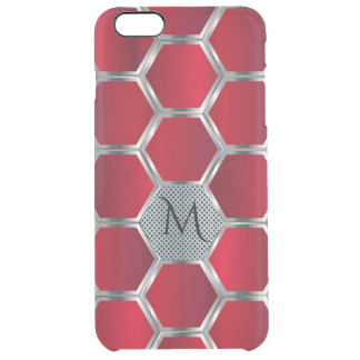 Red & Silver Octagonal Geometric Pattern GR6 Clear iPhone 6 Plus Case