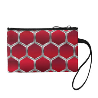Red & Silver Octagons Pattern Coin Purse