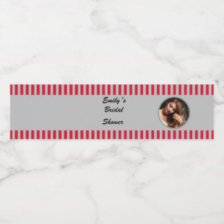 Red Silver Photo Bottle Label Bridal Shower