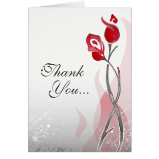 Red Silver Roses Fire & Ice Custom Thank You Cards