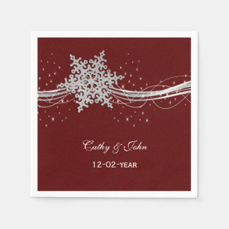 red Silver Snowflakes personalized wedding napkin Paper Napkin