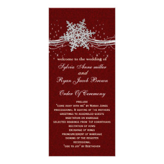 red Silver Snowflakes wedding programs tea length Personalized Rack Card