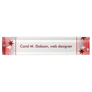 Red Silver Stars Nameplate