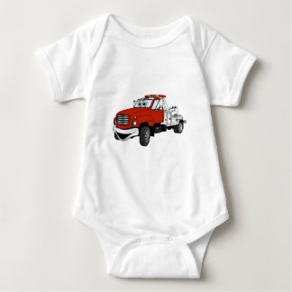 Red Silver Tow Truck Cartoon Baby Bodysuit