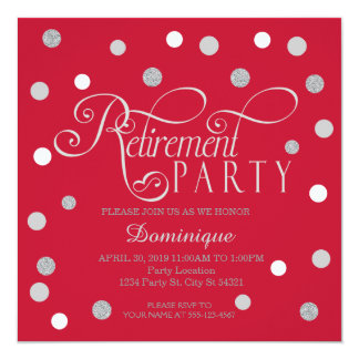 Red, Silver, White Retirement Party Invitations