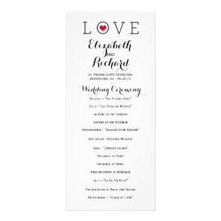 Red Simple Love Wedding Programs