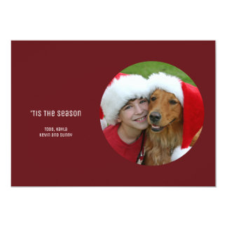 Red Simple Minimalist Modern Holiday Photo Card
