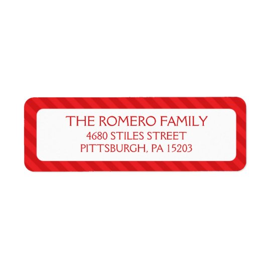 Red Simple Stripes Custom Personalized Return Address Label