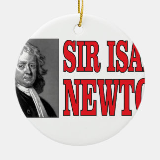 red sir Newton Round Ceramic Ornament