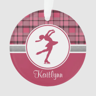 Red Skating Sweetheart Plaid Ornament