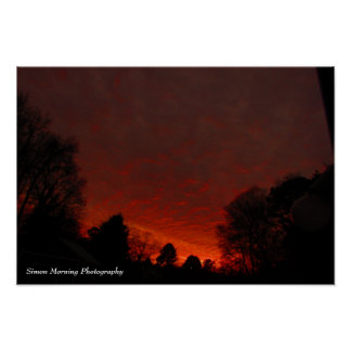Red skies at dawn poster