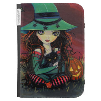 Red Skies of October Halloween Witch Art Kindle Folio Case