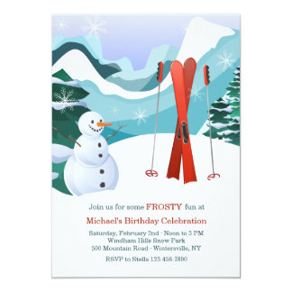 Red Skis and Snowman Invitation