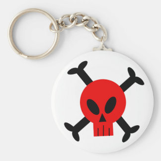 Red Skull And Crossbones Keychain