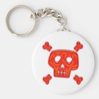 Red Skull Basic Round Button Keychain
