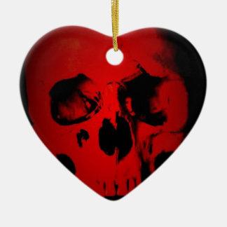 Red Skull Ceramic Heart Ornament