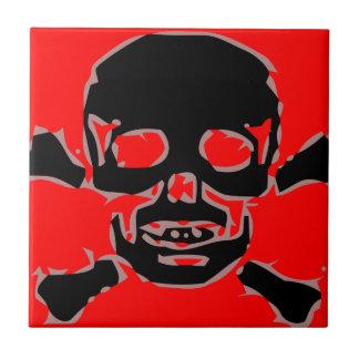 Red skull ceramic tiles