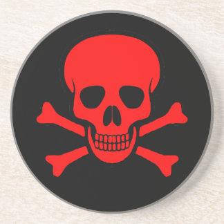 Red Skull & Crossbones Coaster