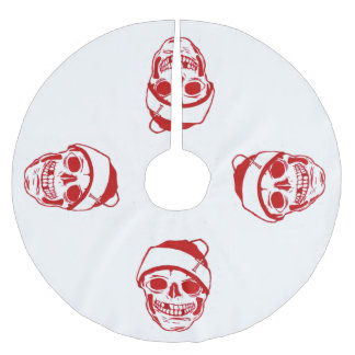 Red Skull In Santa Hat Brushed Polyester Tree Skirt