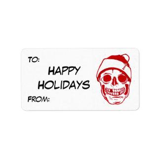 Red Skull In Santa Hat Label