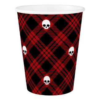 Red Skull Plaid Paper Cup