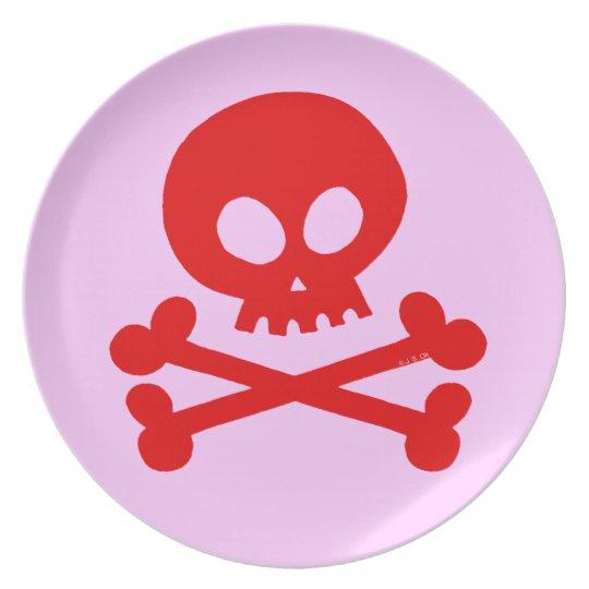 Red skull plate