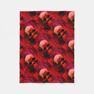 Red skull with tribal fleece blanket