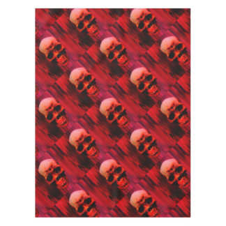 Red skull with tribal tablecloth