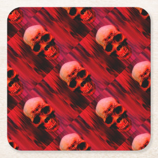 Red Skull with tribal tattoo Square Paper Coaster