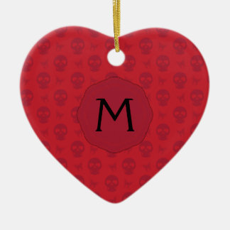 Red Skulls And Butterflies Pattern With Initial Ceramic Heart Ornament