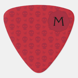 Red Skulls And Butterflies Pattern With Initial Guitar Pick