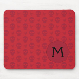 Red Skulls And Butterflies Pattern With Initial Mouse Pad