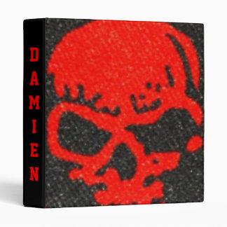 Red Skulls on Black 3 Ring Binder