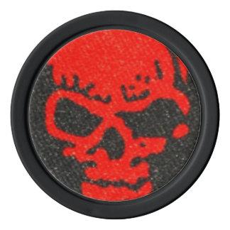 Red Skulls on Black Poker Chips