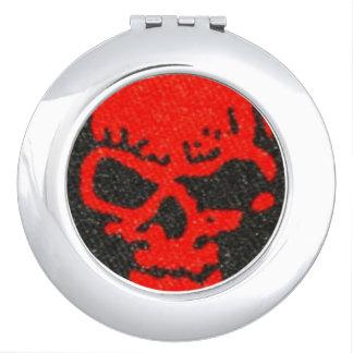 Red Skulls on Black Vanity Mirror