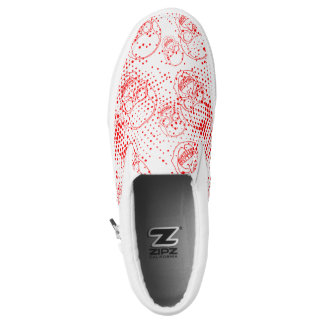Red skulls with bloody splashes Slip-On sneakers